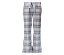 Pyjamahose Twill Check Blau