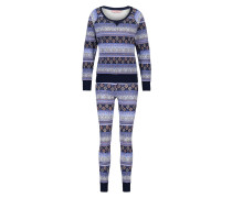 Pyjamaset, Waffelstoff Blau
