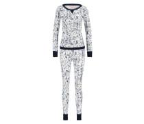 Pyjamaset, Waffelstoff Blauw