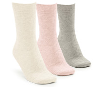3 Paar Socken Texture Rosa