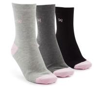 3 Paar Socken Embroidered Bow Grau