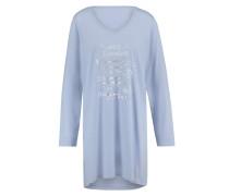 Nightie LS V-neck Print Blau