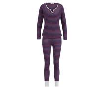Pyjamaset Rib Stripe Blau