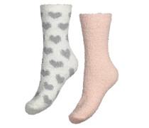 2 Paar Socken Cosy Pompom Weiß