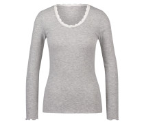 Langarm-Top, gerippt R-neck Grau