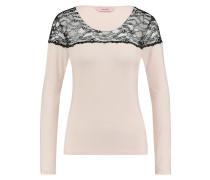 Langarm-Top Rundhals Lace Rosa