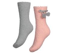2 Paar Socken Cosy Pompom Rosa