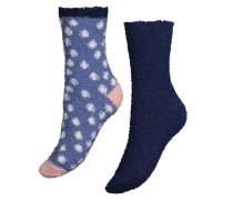 2 Paar Socken Cosy Pompom Blau