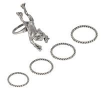 Set bestehend aus fünf Ringen Frog