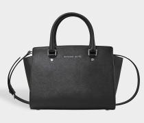 Selma Md Tz Satchel Tasche aus schwarzem Saffia Leder