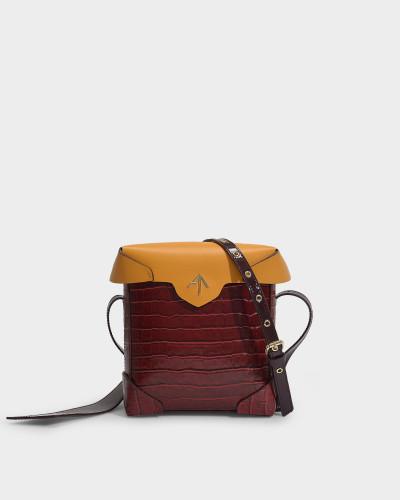 Mini Pristine Combo-Tasche in pflanzlich gegerbtem, senfgelbem und bordeauxrotem, kroko-geprägtem und Lackleder