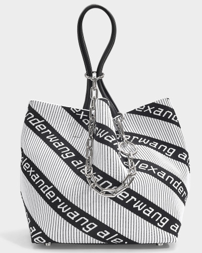 kleiner Shopper Roxy Soft aus schwarz/weißem Jacquard
