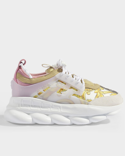 Sports Oversized Chain Sneakers in White, Gold and Pink Calfskin