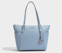 Jet Set Item East-West Top Zip Tote Tasche aus Tile blauem Saffia Leder