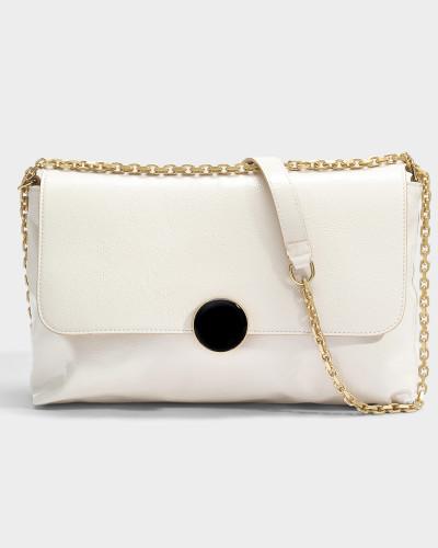 Wo Zu Kaufen Steckdose Vermarktbaren Vanessa Bruno Damen Moon Shoulder Bag aus elfenbeinfarbenem Kuhleder 5ROWi0E84