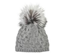 Geflochtene Mütze aus Kaschmir und silbernem Fuchsfell