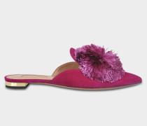 Powder Nuancen Puff Flat Schuhe aus Iris Wildleder