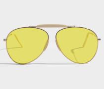 Howard Sonnenbrille in blassem goldfarbenem und gelbem Metall