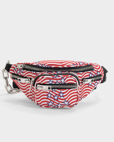 Attica Soft Mini 'Stars and Stripes' Fanny Pack in Red and White Nylon