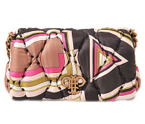 Tasche mit Überschlag aus Seidentwill mit Print