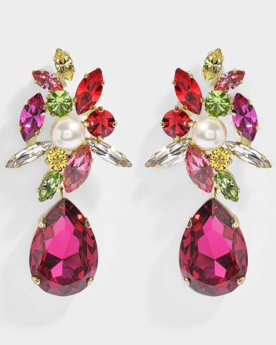 Ohrringe Stalactica Fuschia aus Messing, Perlen und Swarovskikristallen