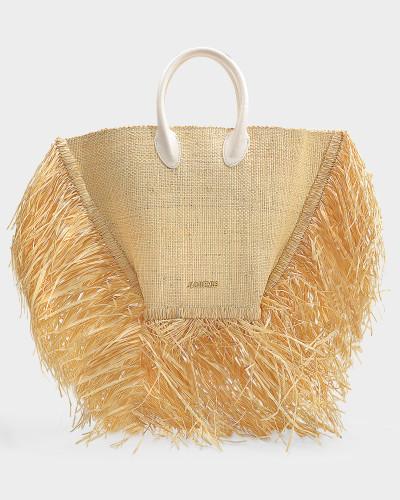 Tasche Korb Le Baci aus beigem Raffia