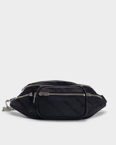 Attica Soft Fanny Pack with Logo in Black Lambskin