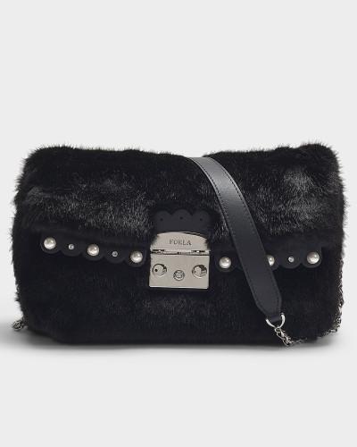 Handtasche Metropolis Nuvola S Crossbody mit Perlen aus schwarzem Leder