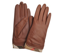 SOLID LEATHER HOUSECHECK TRIM JENNY TOUCH GLOVES