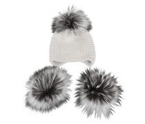 Mütze 3 Pompons aus Kaschmir