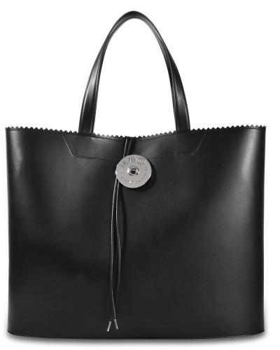 Maison Margiela Damen Large Shopper Tasche aus schwarzem Kalbsleder