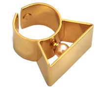 In der Größe verstellbarer Ring Glass Pearl Metal