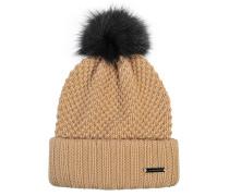 Mütze Knitted mit Bommel aus Fuchspelz