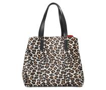 Tasche Shopper Simple Two aus Kalbsleder mit Leo-Print und Glattleder