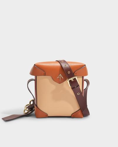 Handtasche Mini Pristine Combo aus beige, camelfarbenem und rotem Leder