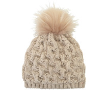 Geflochtene Mütze aus Kaschmir und Fuchsfell