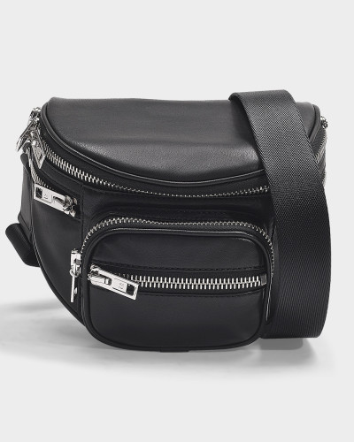 Attica Soft Fanny Messenger Bag in Black Nappa Lambskin