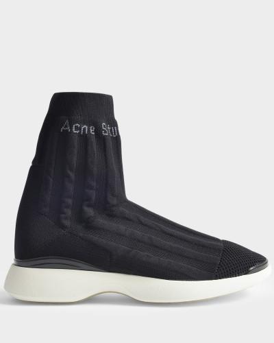 Acne Damen Batilda Sock Sneaker aus schwarzem Nylon