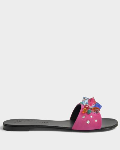 Giuseppe Zanotti Damen mehrfarbigem Crystal Slide Schuhe aus rosanem Synthetik