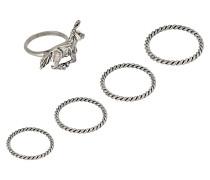 Set bestehend aus fünf Ringen Unicorn