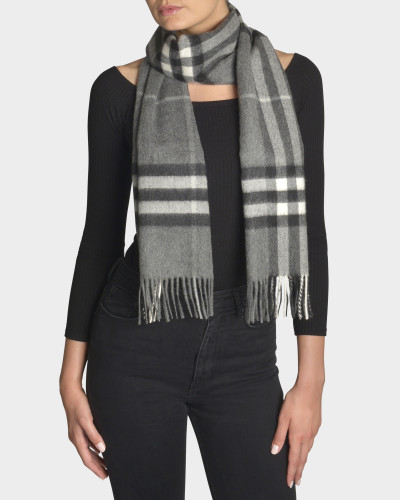 Giant Icon Scarf in Mid Grey Cashmere
