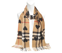 Heart Printed Camel Giant Check Cashmere Scarf 168X30 CM