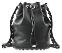 Tasche Alpha Soft Bucket aus texturiertem, genarbtem Lede, mit silbernen Details