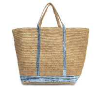 Raffia and Sequins Large tote