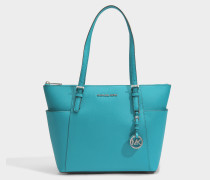 Jet Set Item East-West Top Zip Tote Tasche aus Türkisblau Saffiano Leder