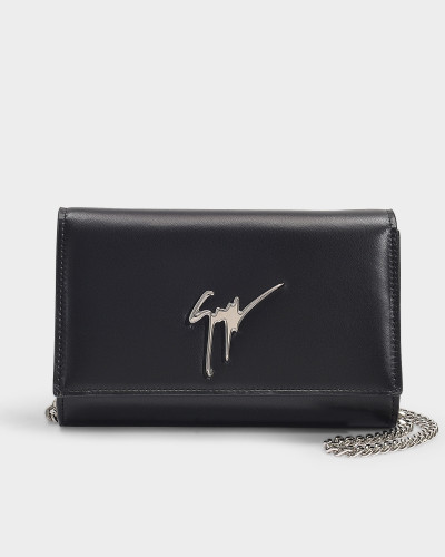 Logo Bag with Chain in Black Nappa Leather