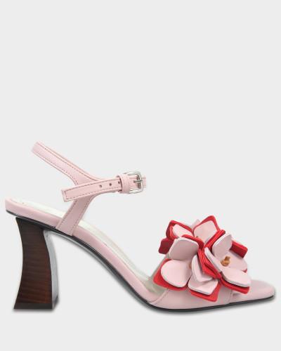 Marni Damen Flower Sandalen aus hellrosanem Schafs- und Kalbsleder