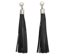 Ohrringe mit schwarzen Pompons aus Lammleder, mit Perlen und Stäbchen