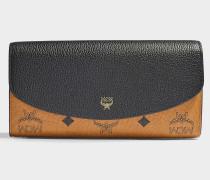Large Geldbörse aus schwarzem und sandfarbenem Leder