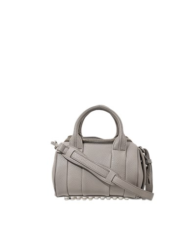 alexander wang damen alexander wang mini rockie tasche aus weichem leder in silber reduziert. Black Bedroom Furniture Sets. Home Design Ideas